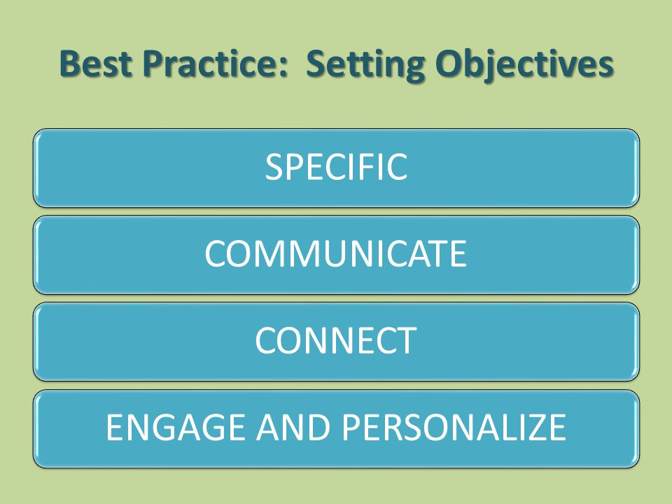 Best Practice: Setting Objectives SPECIFICCOMMUNICATECONNECTENGAGE AND PERSONALIZE