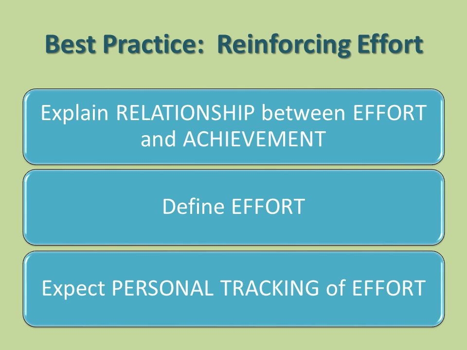Best Practice: Reinforcing Effort Explain RELATIONSHIP between EFFORT and ACHIEVEMENT Define EFFORT Expect PERSONAL TRACKING of EFFORT