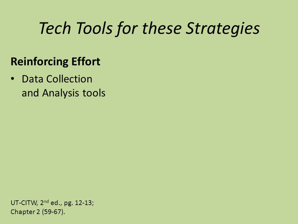 Tech Tools for these Strategies Reinforcing Effort Data Collection and Analysis tools UT-CITW, 2 nd ed., pg.