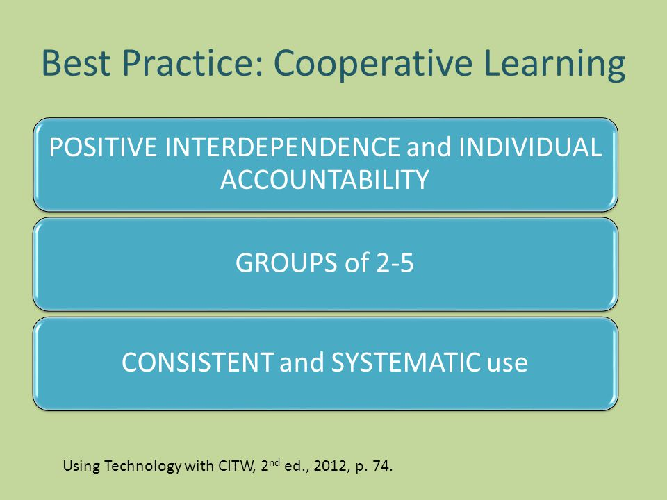 Best Practice: Cooperative Learning POSITIVE INTERDEPENDENCE and INDIVIDUAL ACCOUNTABILITY GROUPS of 2-5CONSISTENT and SYSTEMATIC use Using Technology with CITW, 2 nd ed., 2012, p.