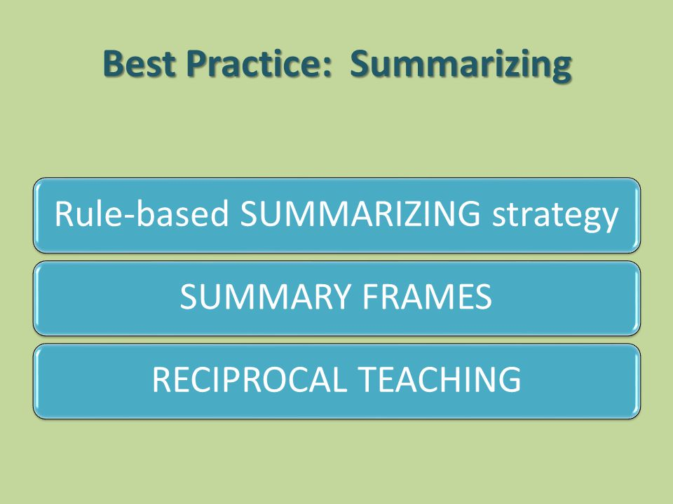 Best Practice: Summarizing Rule-based SUMMARIZING strategySUMMARY FRAMESRECIPROCAL TEACHING