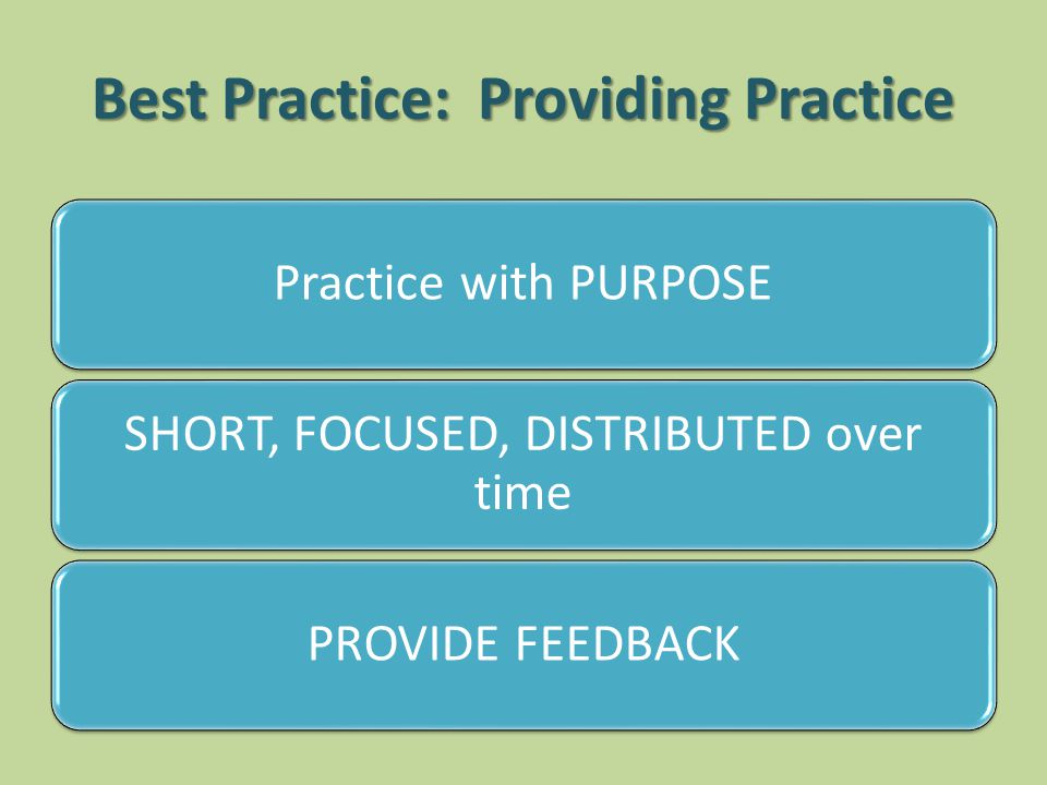 Best Practice: Providing Practice Practice with PURPOSE SHORT, FOCUSED, DISTRIBUTED over time PROVIDE FEEDBACK