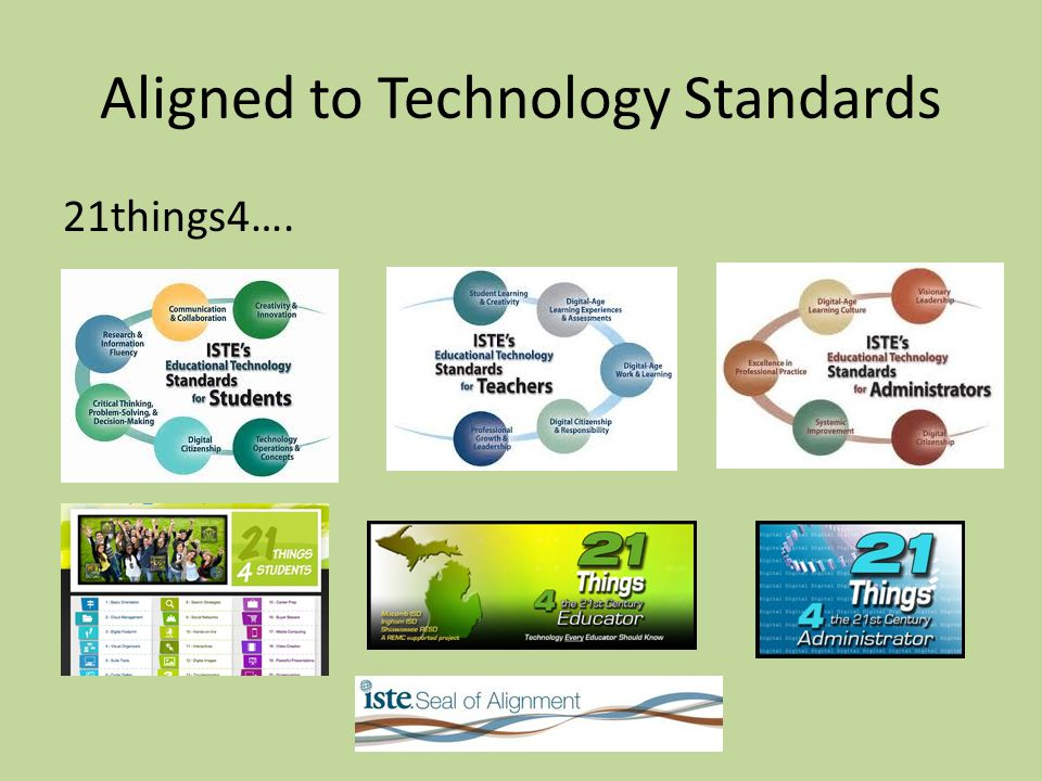 Aligned to Technology Standards 21things4….