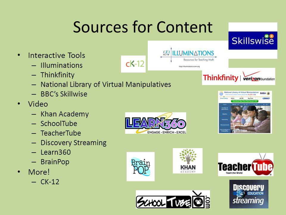 Sources for Content Interactive Tools – Illuminations – Thinkfinity – National Library of Virtual Manipulatives – BBCs Skillwise Video – Khan Academy