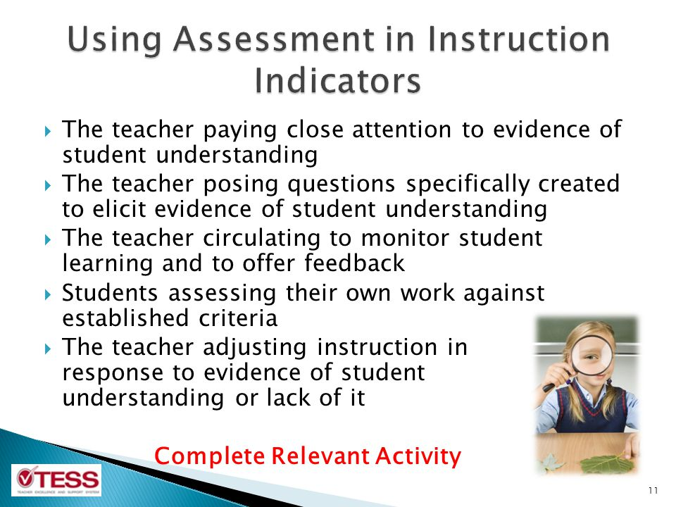The teacher paying close attention to evidence of student understanding The teacher posing questions specifically created to elicit evidence of studen