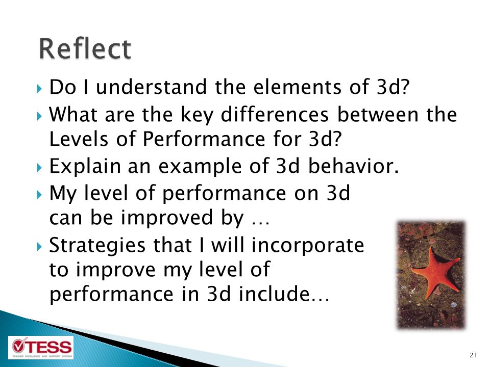 Do I understand the elements of 3d? What are the key differences between the Levels of Performance for 3d? Explain an example of 3d behavior. My level