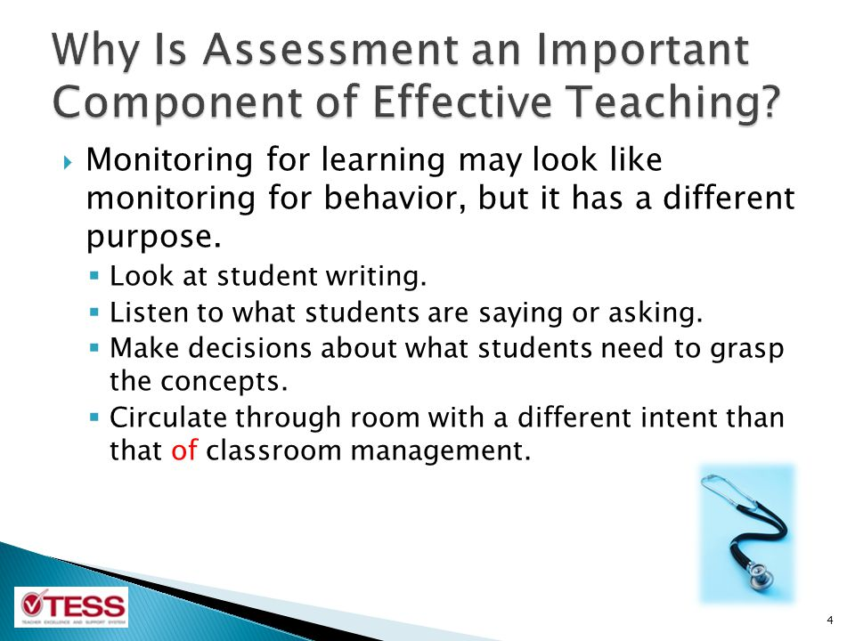 Monitoring for learning may look like monitoring for behavior, but it has a different purpose. Look at student writing. Listen to what students are sa