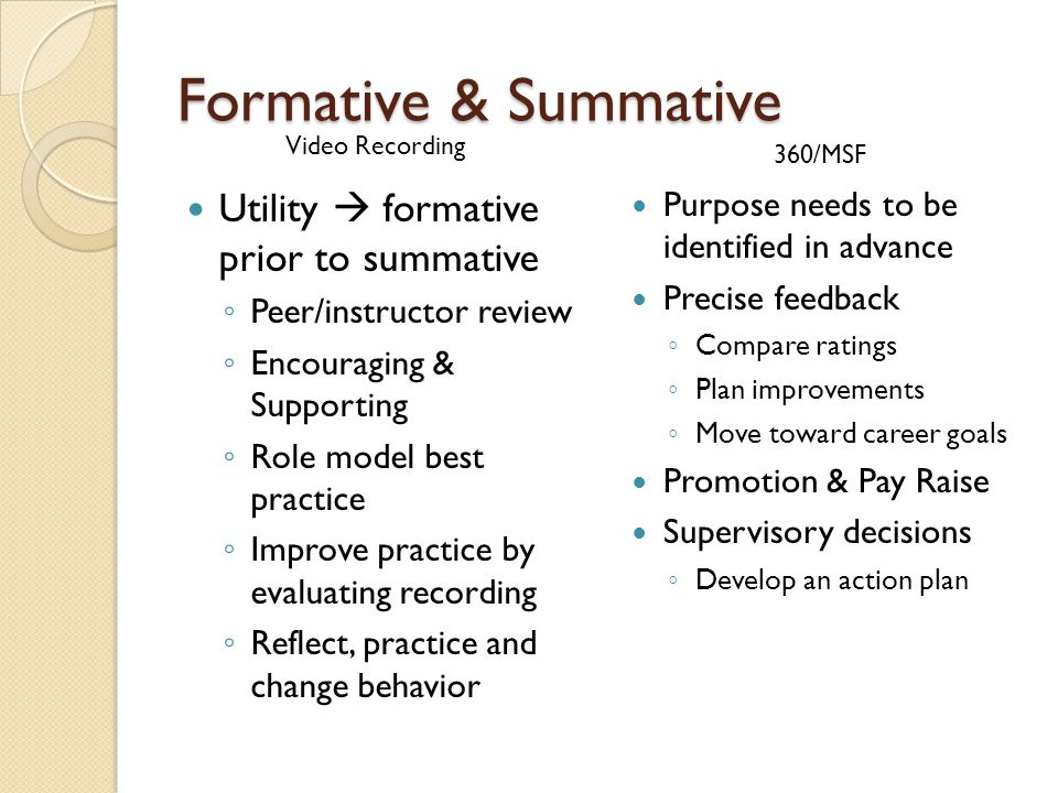Formative & Summative Utility formative prior to summative Peer/instructor review Encouraging & Supporting Role model best practice Improve practice by evaluating recording Reflect, practice and change behavior Purpose needs to be identified in advance Precise feedback Compare ratings Plan improvements Move toward career goals Promotion & Pay Raise Supervisory decisions Develop an action plan Video Recording 360/MSF