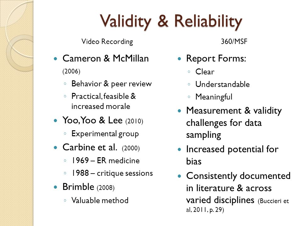 Validity & Reliability Cameron & McMillan (2006) Behavior & peer review Practical, feasible & increased morale Yoo, Yoo & Lee (2010) Experimental group Carbine et al.