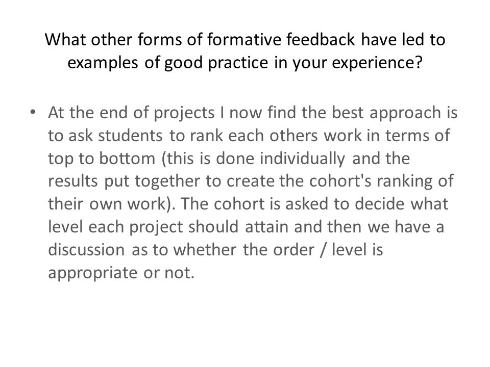 Students are sometimes asked to complete crit feedback sheets for other students.