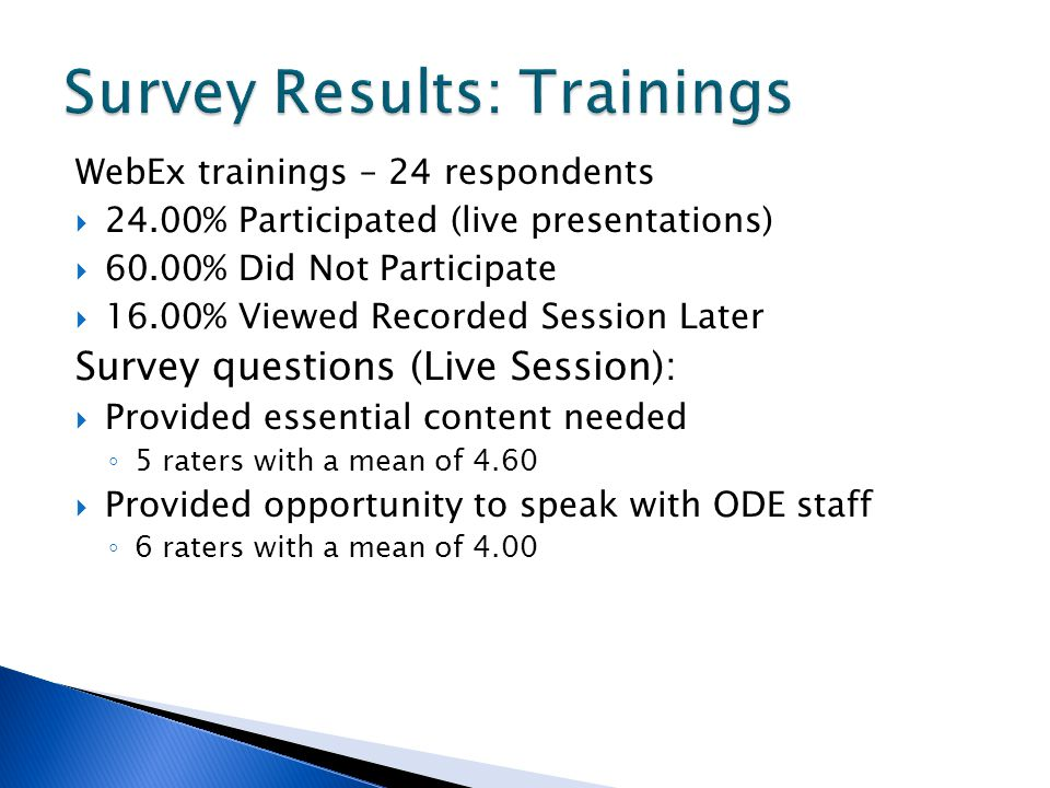 WebEx trainings – 24 respondents 24.00% Participated (live presentations) 60.00% Did Not Participate 16.00% Viewed Recorded Session Later Survey questions (Live Session): Provided essential content needed 5 raters with a mean of 4.60 Provided opportunity to speak with ODE staff 6 raters with a mean of 4.00