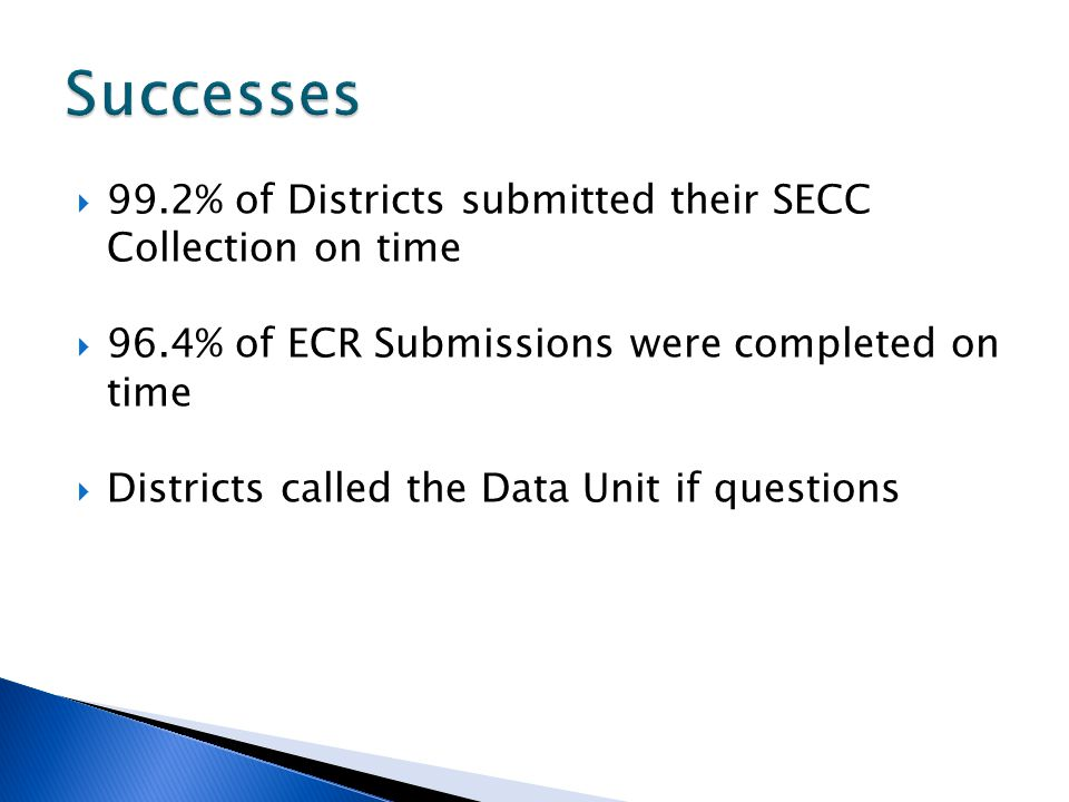 99.2% of Districts submitted their SECC Collection on time 96.4% of ECR Submissions were completed on time Districts called the Data Unit if questions