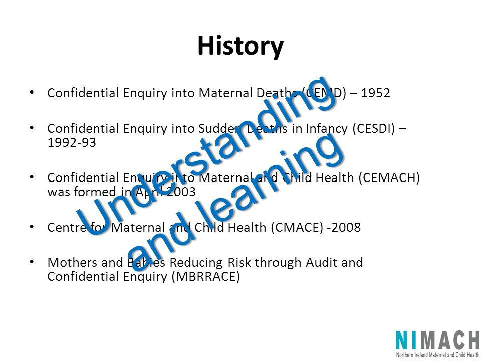 History Confidential Enquiry into Maternal Deaths (CEMD) – 1952 Confidential Enquiry into Sudden Deaths in Infancy (CESDI) – 1992-93 Confidential Enqu