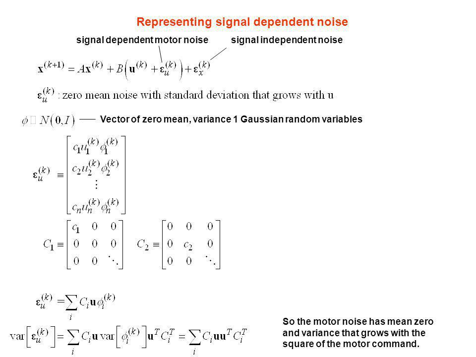 Representing signal dependent noise Vector of zero mean, variance 1 Gaussian random variables signal independent noisesignal dependent motor noise So