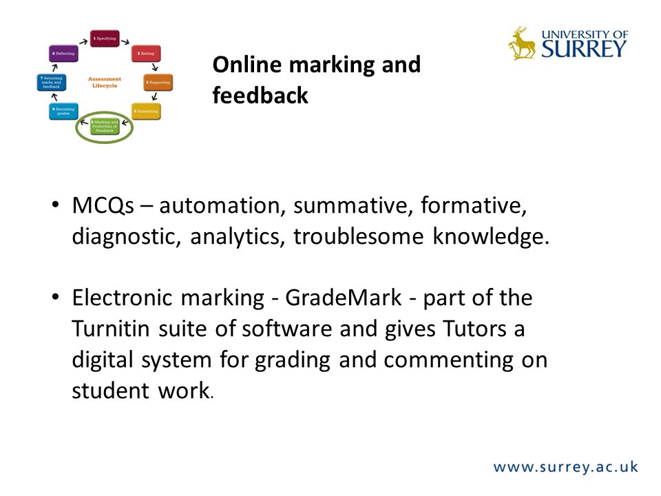 Online marking and feedback MCQs – automation, summative, formative, diagnostic, analytics, troublesome knowledge.