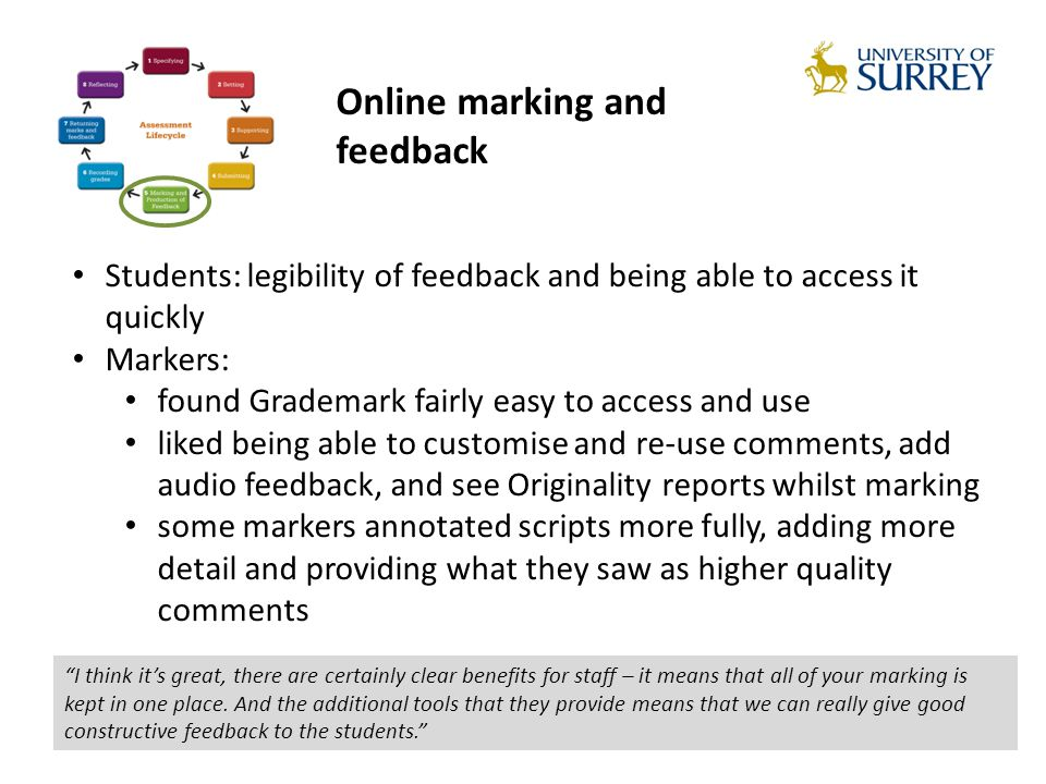 Students: legibility of feedback and being able to access it quickly Markers: found Grademark fairly easy to access and use liked being able to customise and re-use comments, add audio feedback, and see Originality reports whilst marking some markers annotated scripts more fully, adding more detail and providing what they saw as higher quality comments I think its great, there are certainly clear benefits for staff – it means that all of your marking is kept in one place.