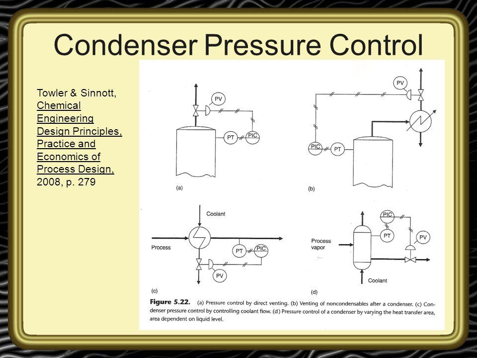 Condenser Pressure Control Towler & Sinnott, Chemical Engineering Design Principles, Practice and Economics of Process Design, 2008, p. 279