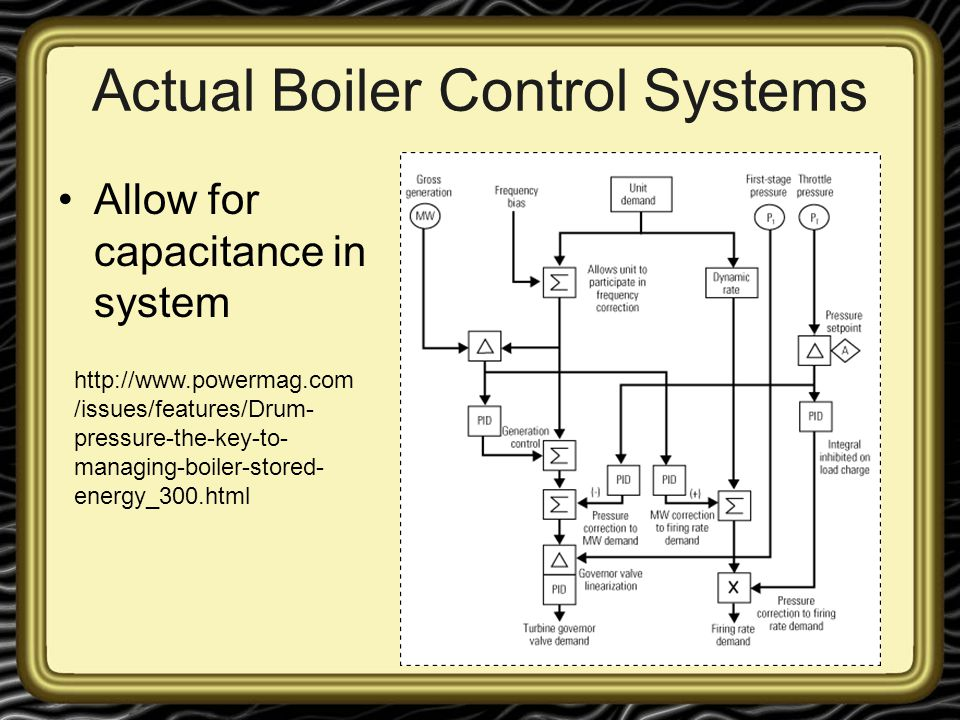 Actual Boiler Control Systems Allow for capacitance in system http://www.powermag.com /issues/features/Drum- pressure-the-key-to- managing-boiler-stor