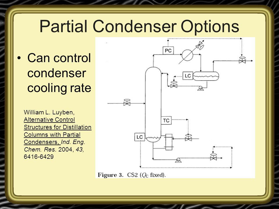 Partial Condenser Options Can control condenser cooling rate William L. Luyben, Alternative Control Structures for Distillation Columns with Partial C