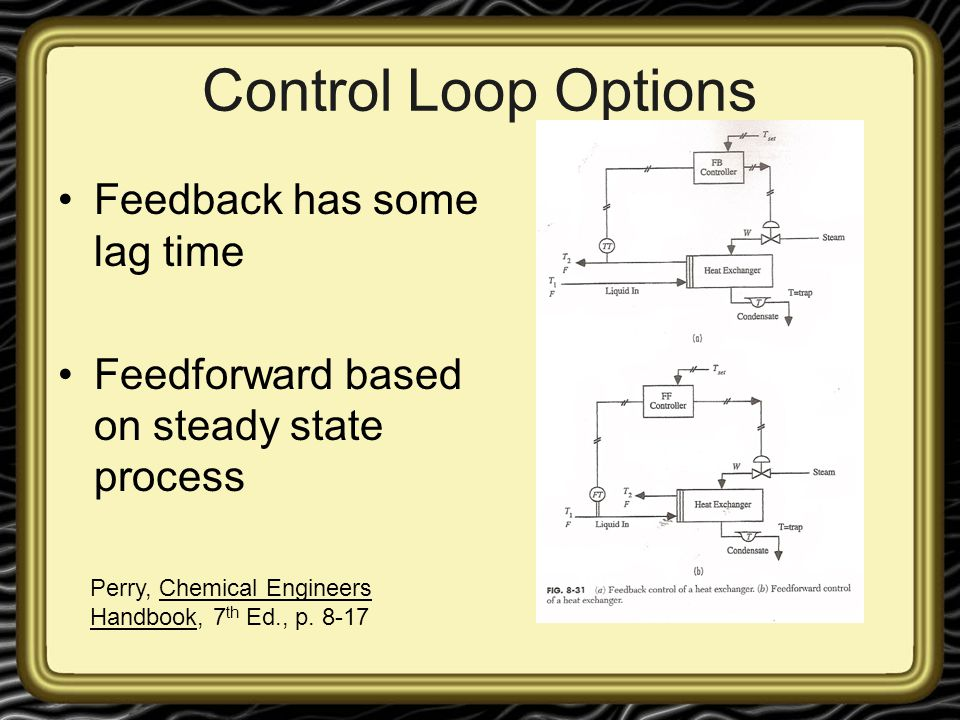 Control Loop Options Feedback has some lag time Feedforward based on steady state process Perry, Chemical Engineers Handbook, 7 th Ed., p. 8-17