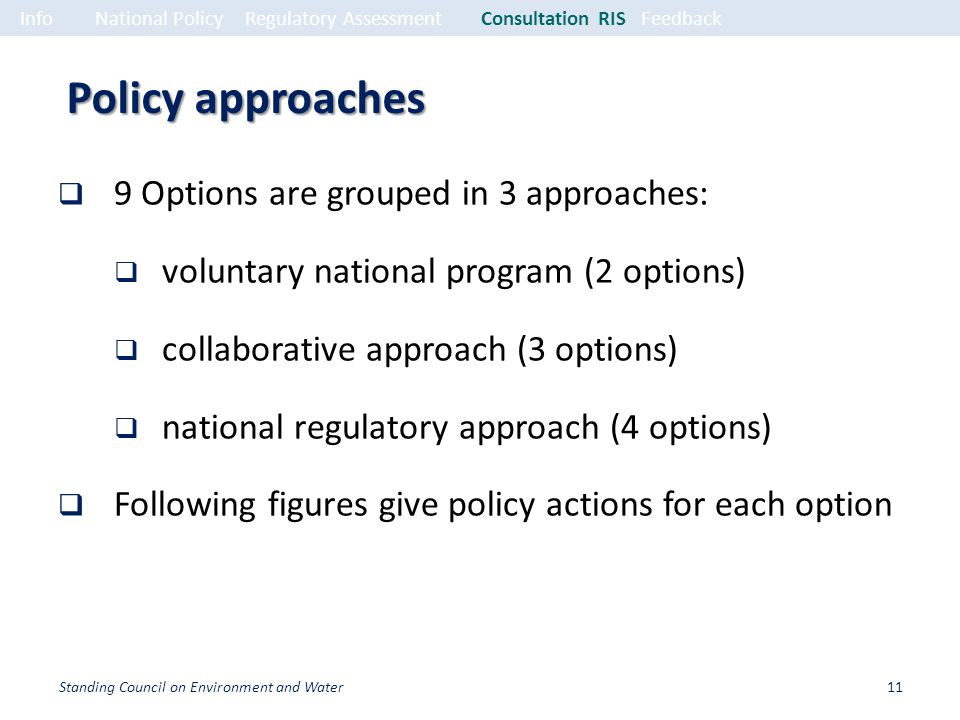 Policy approaches 9 Options are grouped in 3 approaches: voluntary national program (2 options) collaborative approach (3 options) national regulatory approach (4 options) Following figures give policy actions for each option InfoNational PolicyRegulatory Assessment Consultation RISFeedback 11Standing Council on Environment and Water