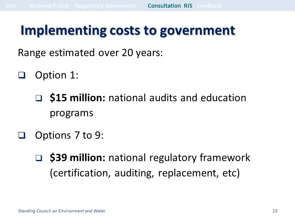 Implementing costs to government Range estimated over 20 years: Option 1: $15 million: national audits and education programs Options 7 to 9: $39 million: national regulatory framework (certification, auditing, replacement, etc) InfoNational PolicyRegulatory Assessment Consultation RISFeedback 23Standing Council on Environment and Water