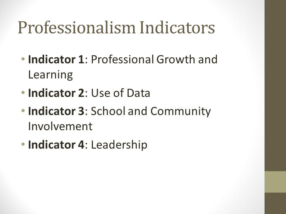 Professionalism Indicators Indicator 1: Professional Growth and Learning Indicator 2: Use of Data Indicator 3: School and Community Involvement Indicator 4: Leadership