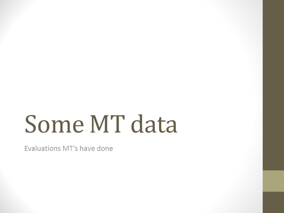 Some MT data Evaluations MTs have done