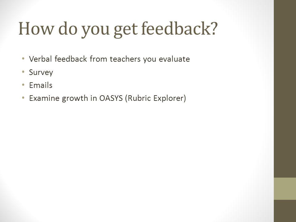 How do you get feedback.