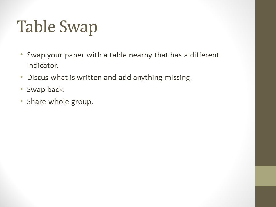 Table Swap Swap your paper with a table nearby that has a different indicator.