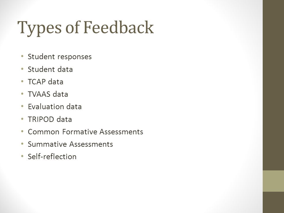 Types of Feedback Student responses Student data TCAP data TVAAS data Evaluation data TRIPOD data Common Formative Assessments Summative Assessments Self-reflection