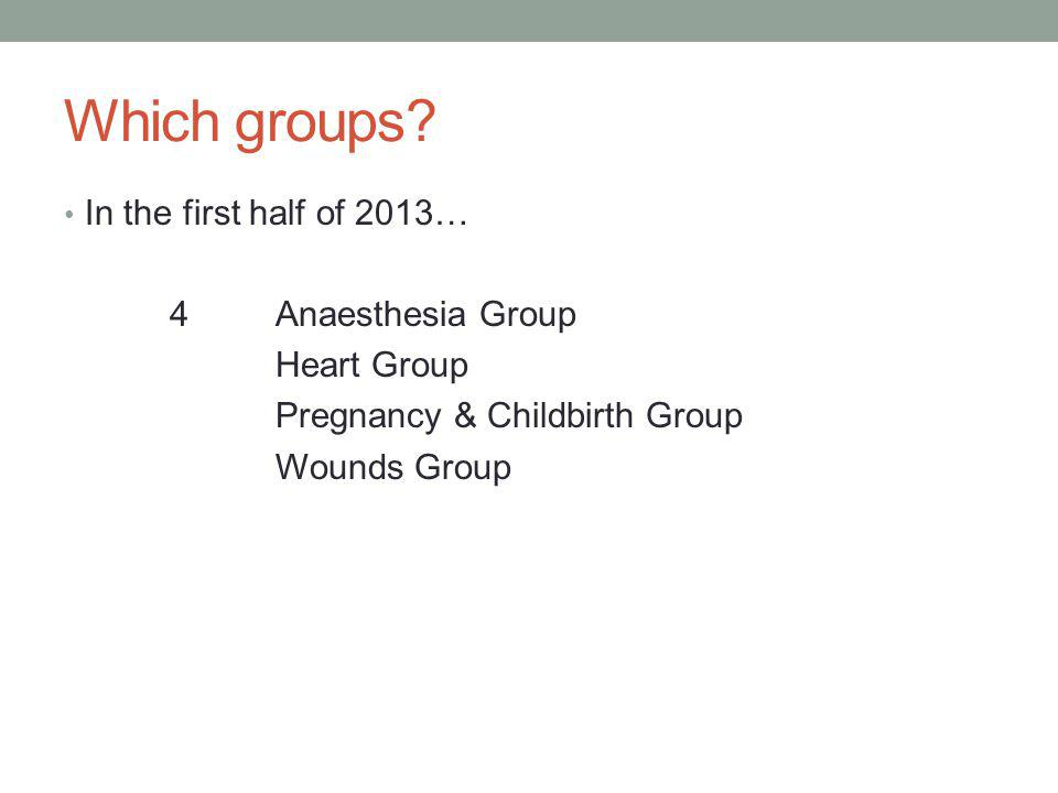 Which groups? In the first half of 2013… 4Anaesthesia Group Heart Group Pregnancy & Childbirth Group Wounds Group