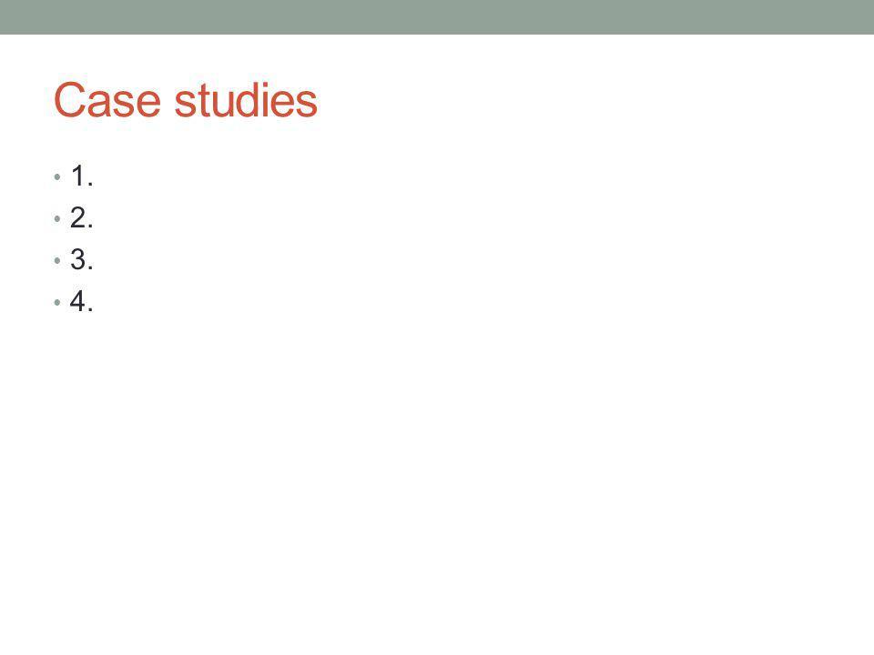 Case studies 1. 2. 3. 4.