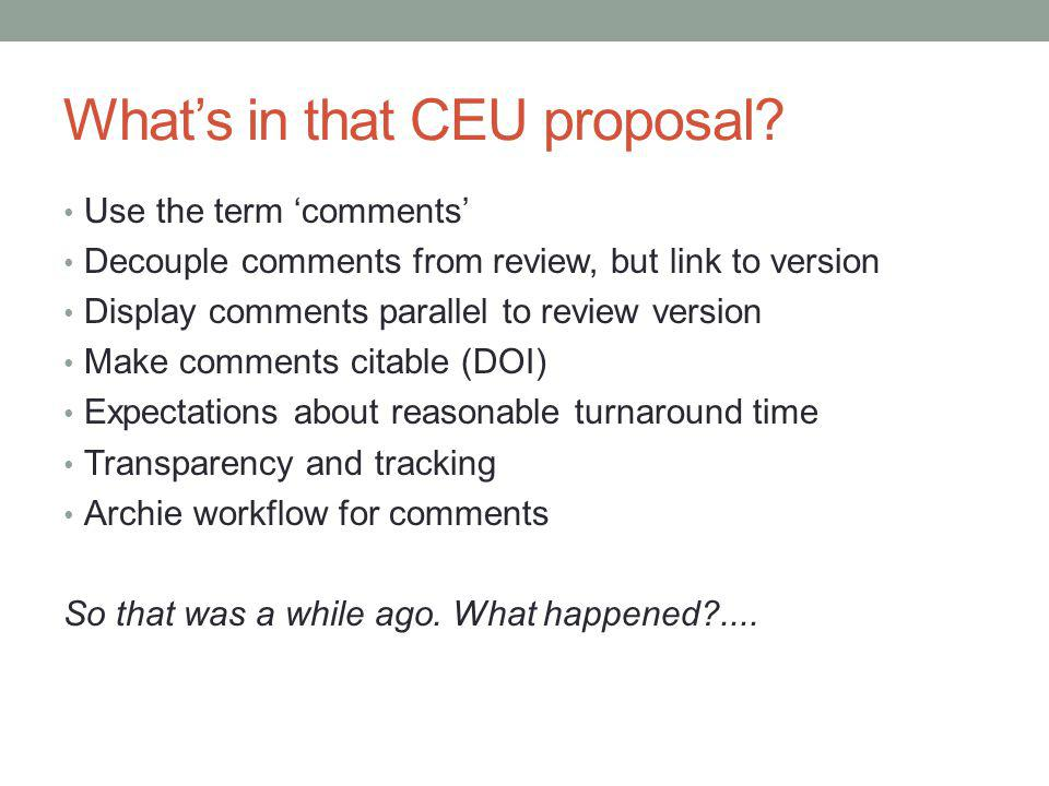 Whats in that CEU proposal.