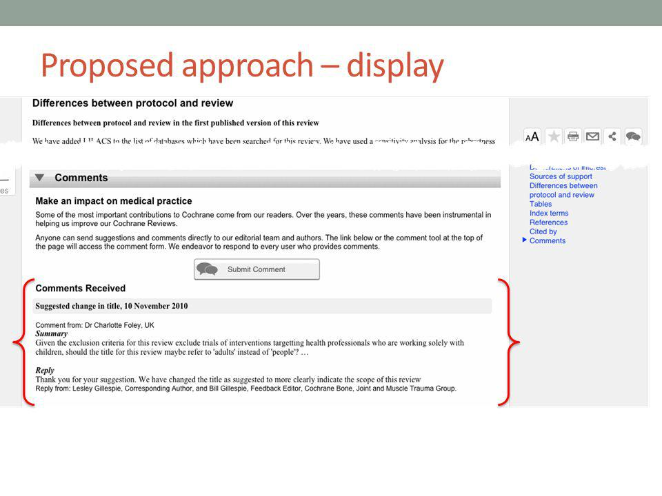 Proposed approach – display