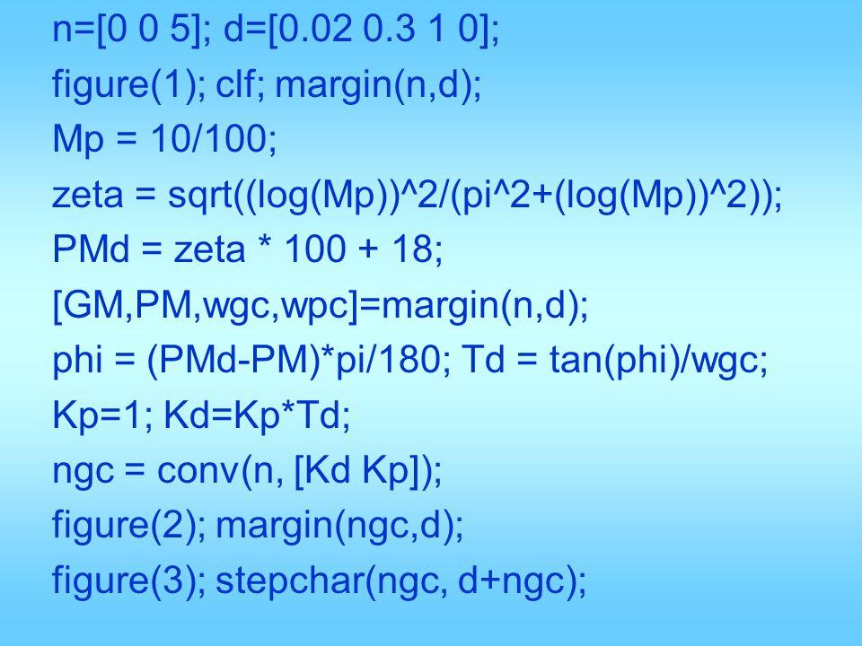 n=[0 0 5]; d=[0.02 0.3 1 0]; figure(1); clf; margin(n,d); Mp = 10/100; zeta = sqrt((log(Mp))^2/(pi^2+(log(Mp))^2)); PMd = zeta * 100 + 18; [GM,PM,wgc,
