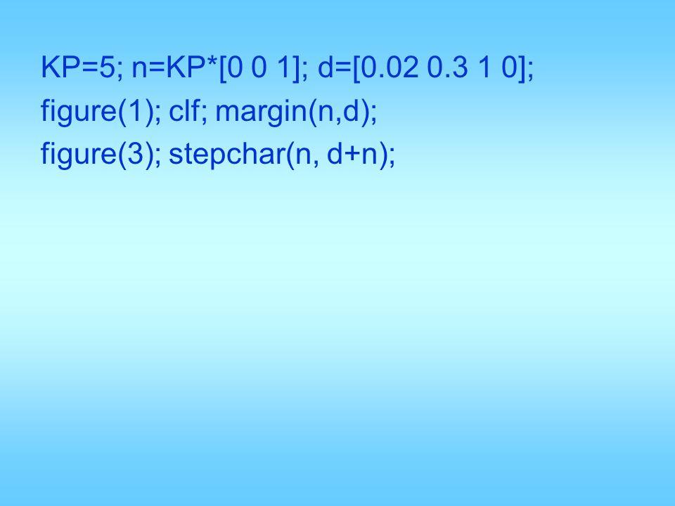 KP=5; n=KP*[0 0 1]; d=[0.02 0.3 1 0]; figure(1); clf; margin(n,d); figure(3); stepchar(n, d+n);