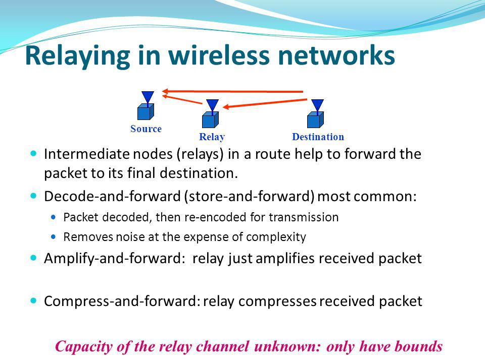 Relaying in wireless networks Intermediate nodes (relays) in a route help to forward the packet to its final destination. Decode-and-forward (store-an