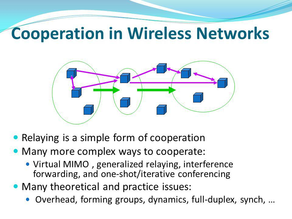 Cooperation in Wireless Networks Relaying is a simple form of cooperation Many more complex ways to cooperate: Virtual MIMO, generalized relaying, interference forwarding, and one-shot/iterative conferencing Many theoretical and practice issues: Overhead, forming groups, dynamics, full-duplex, synch, …