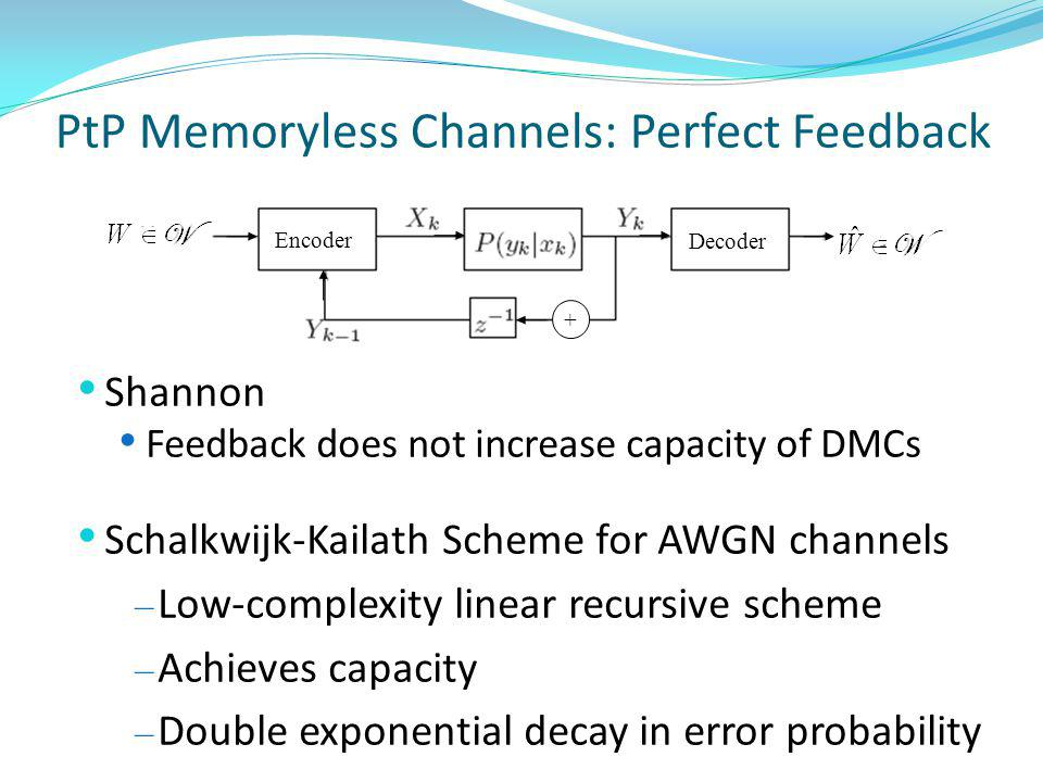PtP Memoryless Channels: Perfect Feedback Shannon Feedback does not increase capacity of DMCs Schalkwijk-Kailath Scheme for AWGN channels – Low-complexity linear recursive scheme – Achieves capacity – Double exponential decay in error probability Encoder Decoder +