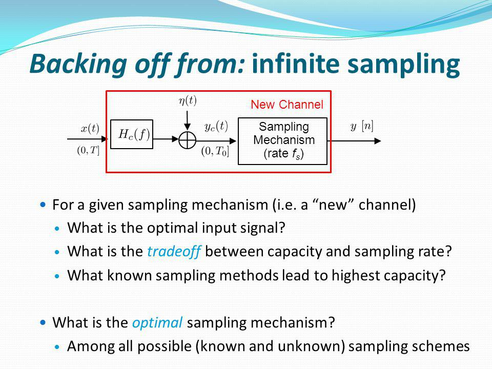 For a given sampling mechanism (i.e. a new channel) What is the optimal input signal.