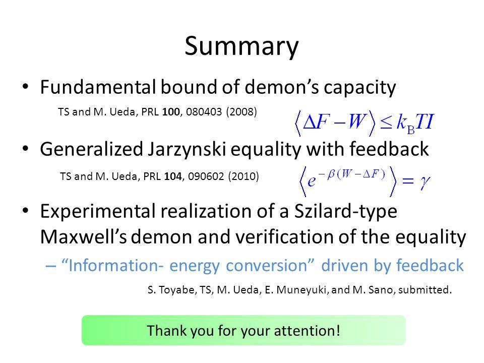 Summary Fundamental bound of demons capacity Generalized Jarzynski equality with feedback Experimental realization of a Szilard-type Maxwells demon an