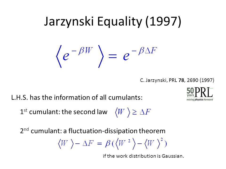 Jarzynski Equality (1997) 1 st cumulant: the second law L.H.S. has the information of all cumulants: C. Jarzynski, PRL 78, 2690 (1997) 2 nd cumulant: