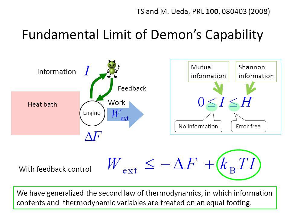 Fundamental Limit of Demons Capability Engine Heat bath Work With feedback control TS and M. Ueda, PRL 100, 080403 (2008) Information Feedback We have