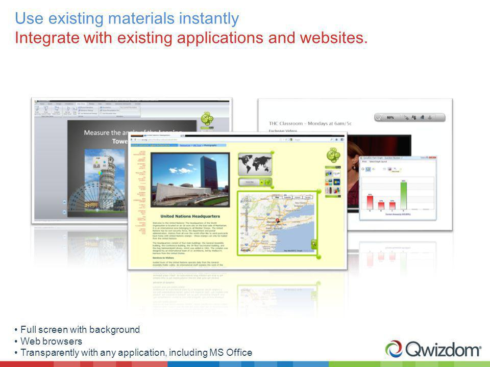 Use existing materials instantly Integrate with existing applications and websites. Full screen with background Web browsers Transparently with any ap