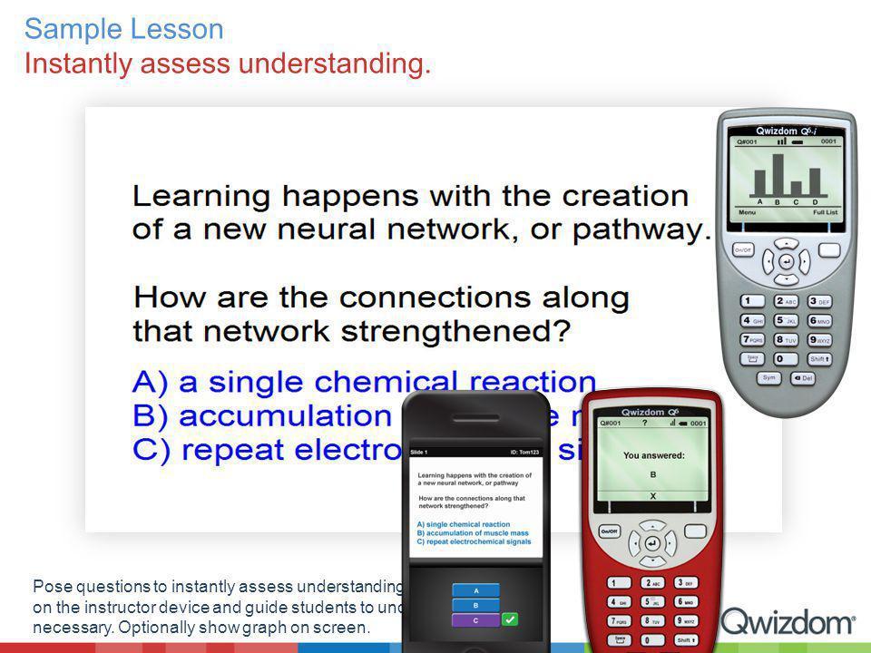 Sample Lesson Instantly assess understanding. Pose questions to instantly assess understanding.