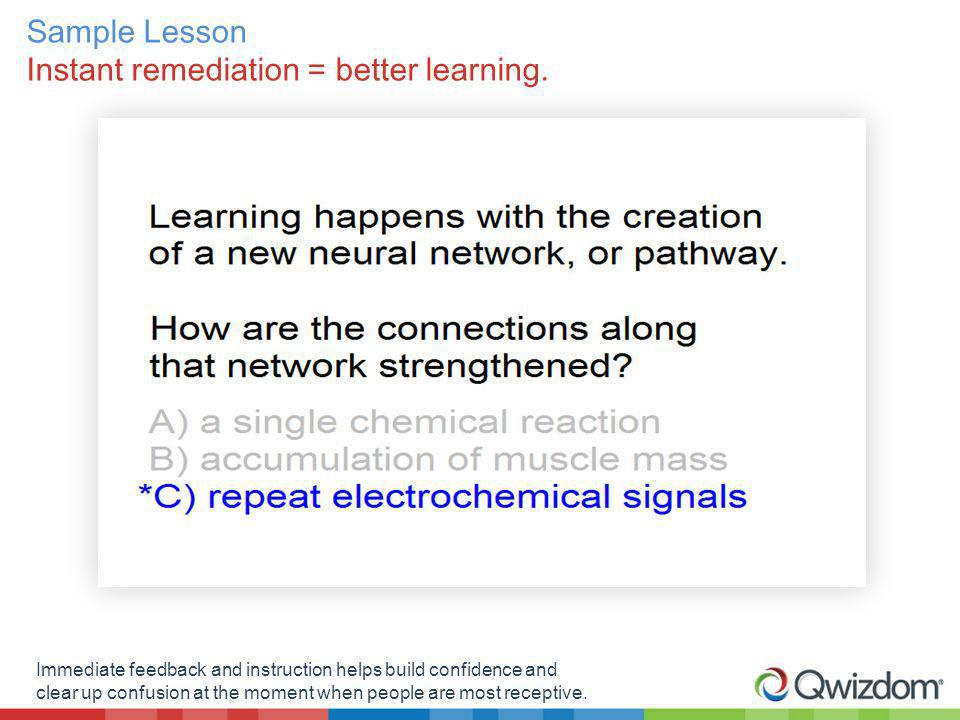 Sample Lesson Instant remediation = better learning.
