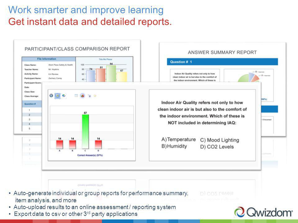 Work smarter and improve learning Get instant data and detailed reports.