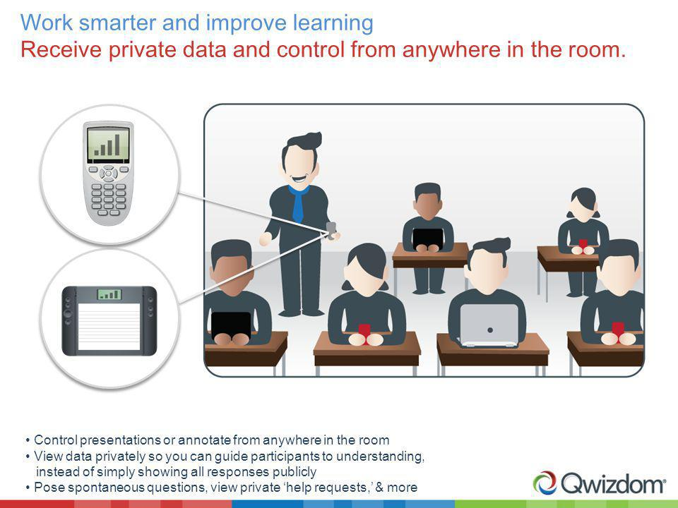 Work smarter and improve learning Receive private data and control from anywhere in the room. Control presentations or annotate from anywhere in the r
