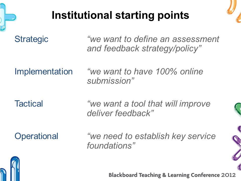 Institutional starting points Strategic we want to define an assessment and feedback strategy/policy Implementation we want to have 100% online submission Tactical we want a tool that will improve deliver feedback Operational we need to establish key service foundations